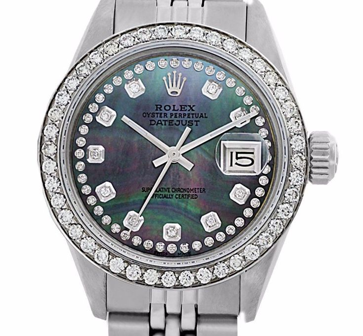 Used Steel Rolex Lady Datejust 69174 String Tahitian Diamond Dial/Diamond Bezel #Rolex #Casual