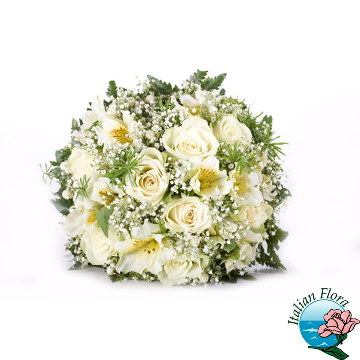 Bouquet di rose bianche e gypsophila