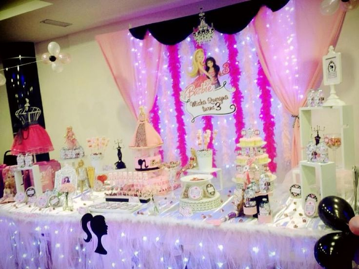 Backdrop & cake table / candy buffet for a Barbie themed ...
