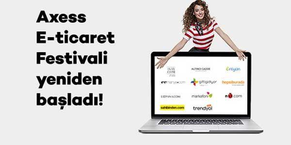 """Axess kredi kartı sahiplerine özel E-Ticaret kampanyası kapsamında internet üzerinden yapacağınız 3 adet 150 TL alışverişte 45 TL değerinde chip para hediye edilecek. Kampanya 26 Mayıs - 15 Haziran tarihleri arasında Hepsiburada, GittiGidiyor, n11, Trendyol, Markafoni, Sahibinden, 1V1Y, Lidyana, Evmanya, AltıncıCadde ve Ereyon sitelerinde geçerlidir. Kampanyaya katılmak için FESTİVAL yazın 4566'ya SMS gönderin veya """"Kampanyaya Katıl"""" butonuna tıklayın. Kampanya Ayrıntıları  Kampanya..."""