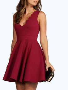 burgundy red dress, sweetheart dress, v neck flare scallop lace dress - Crystalline