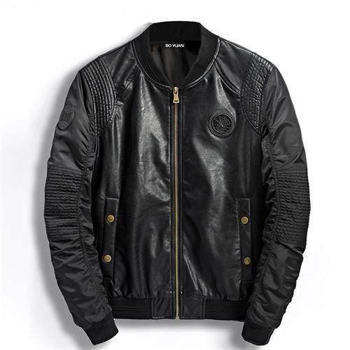 BOYUAN High Quality Casual Fashion Stand Collar Baseball Uniform Coat Male Pilots Jackets Men PU Leather Jacket Patchwork DSW109