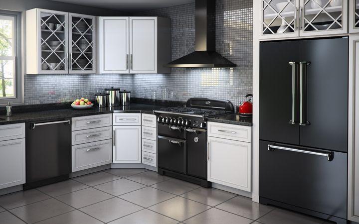AGA Legacy Suite - 36 Inch Solid Door Black - range, French door refrigerator, dishwasher #kitchen #appliances