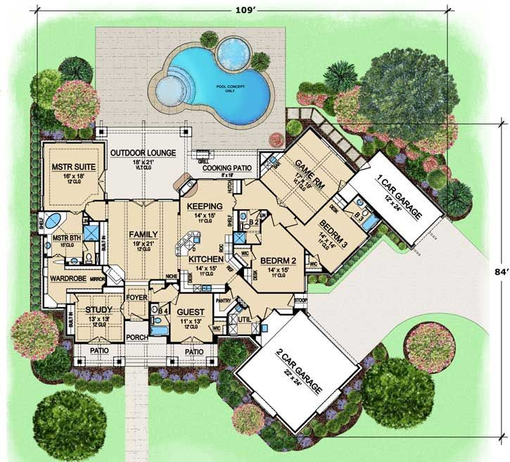 luxury style house plans 3584 square foot home 1 story 4 bedroom and - Luxury Floor Plans