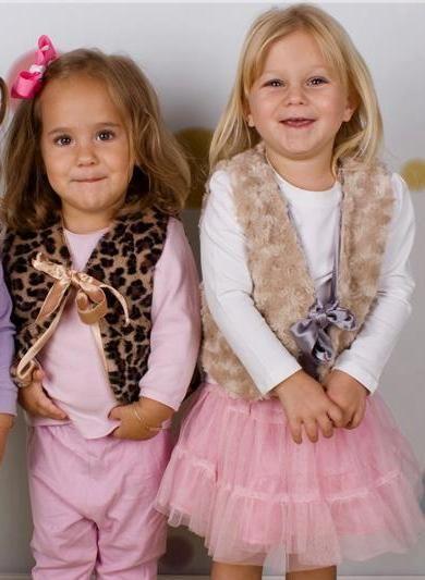 Leopard Faux fur Girls vest - beige available too . $10.95