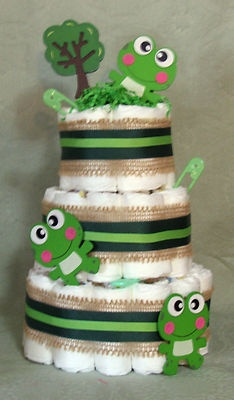 3 Tier Diaper Cake FROGS, FROGS, FROGS, Baby Shower Centerpiece for boy or girl | eBay