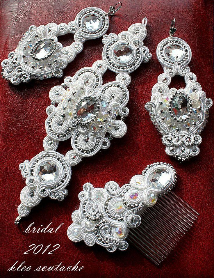 """Sutasz Kleo /Soutache jewellery: Ślubny komplet sutasz """" Ivon"""""""