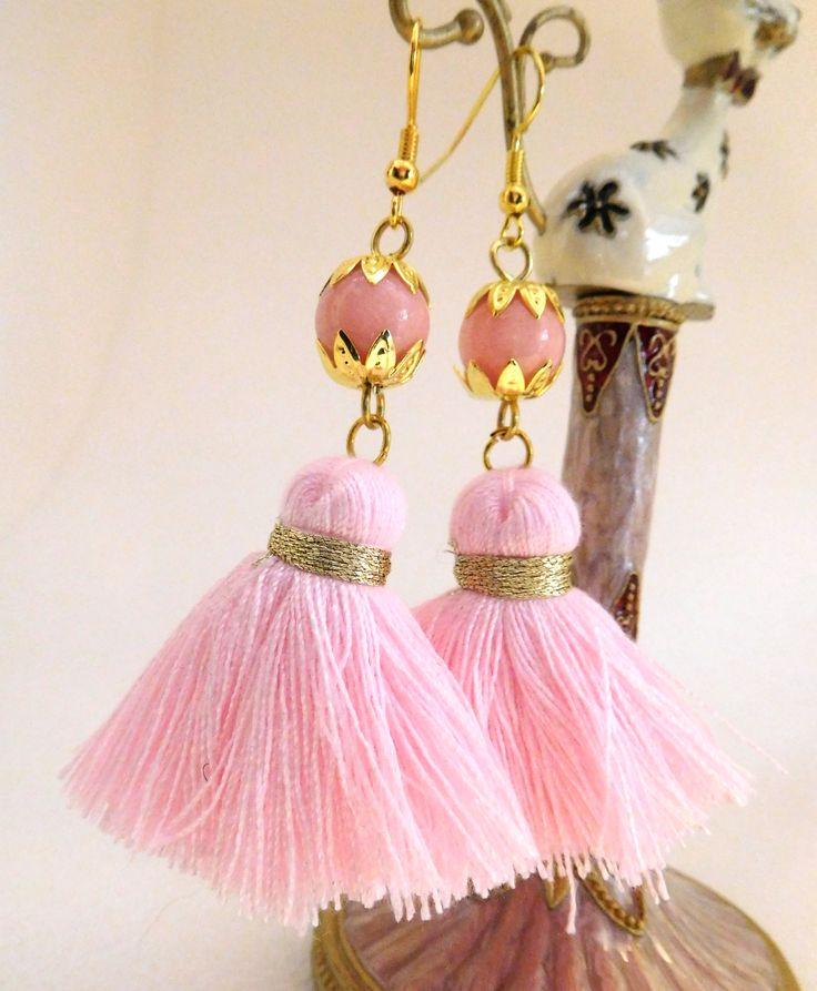 Boho Tassell Earrings in soft pink; genuine Rhodonite Gemstone, gold plated ear wires