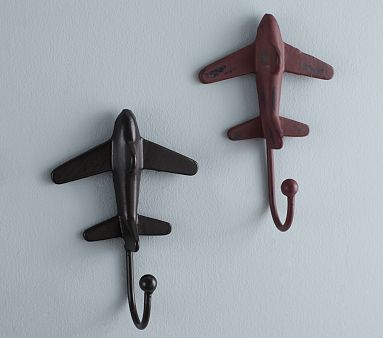 Rustic Metal Plane Hooks, Red. TELL YOUR FRIENDS that we'd love to see them at our aviation themed restaurant, The Left Seat West, in Glendale, Arizona!! Check out our décor at: http://www.facebook.com/pages/Left-Seat-West-Restaurant/192309664138462