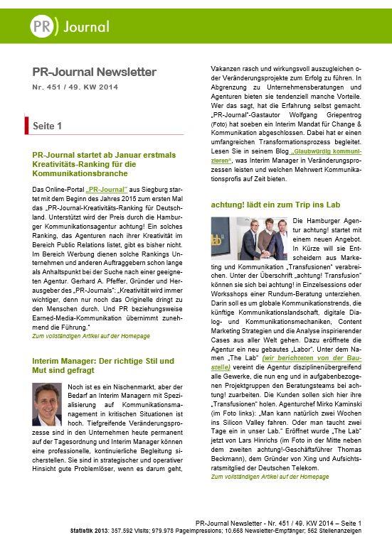 Startseite von Pfeffers PR-Newsletter Nr. 451 des PR-Journals (9. Dezember 2014)  Stichworte: Fachmedien: Wichtig für Entscheider; Corporate Videos: Verbesserungen notwendig; Frauen: Von Almosen und Karriereplänen; Studie: Aufrichtigkeit wichtiger als Nützlichkeit; PR-Journal startet PR-Kreativitäts-Ranking