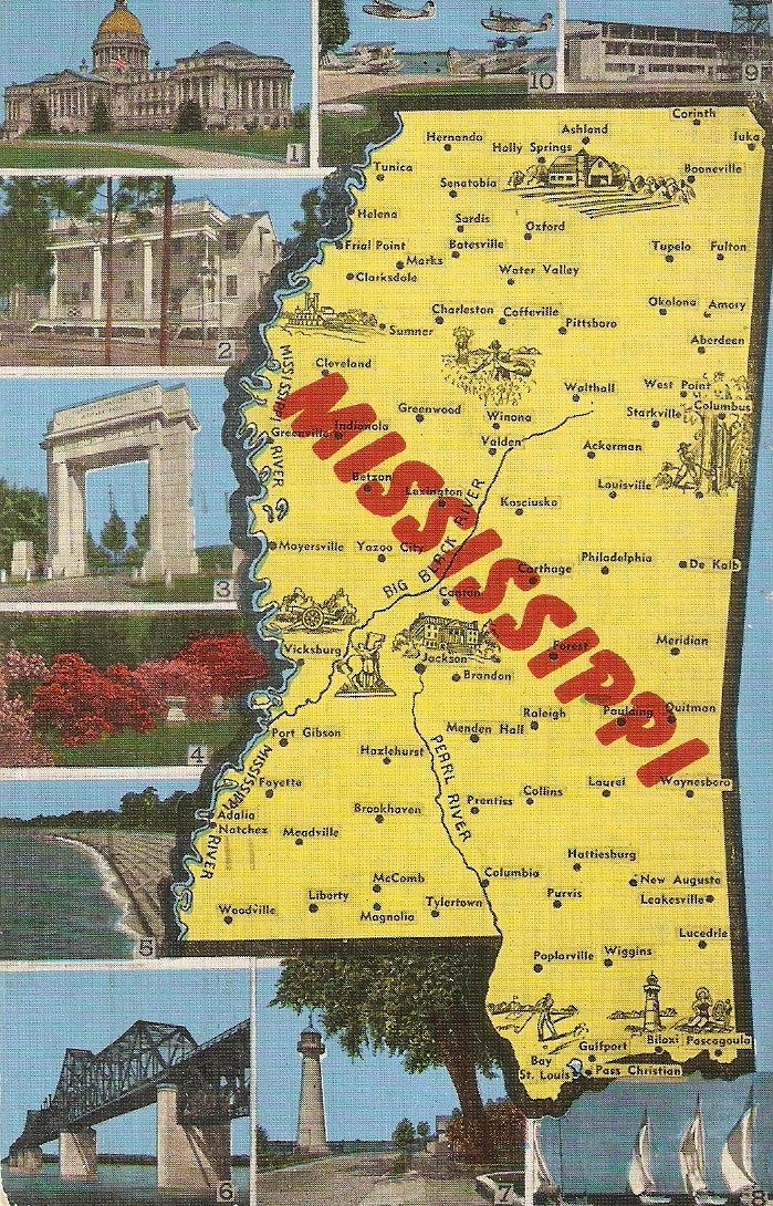 Map Of Poitiers%0A Mississippi vintage postcard  state map souvenir postcard by  sharonfostervintage on Etsy   Postcards and Vintage postcards   Pinterest    Vintage postcards