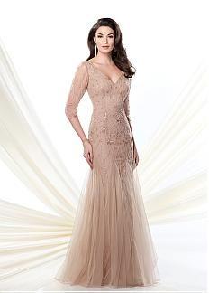 Elégant Tulle A-ligne col en V décolleté pleine longueur mère de la robe de mariée