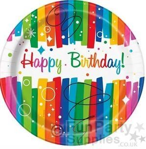 Rainbow Ribbons Party Happy Birthday Paper Plates – 23cm (Pk 8)