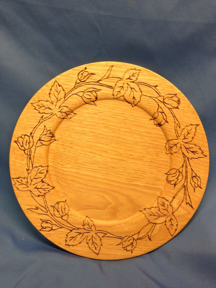 Hickory Plate with Pyrography rosebud border