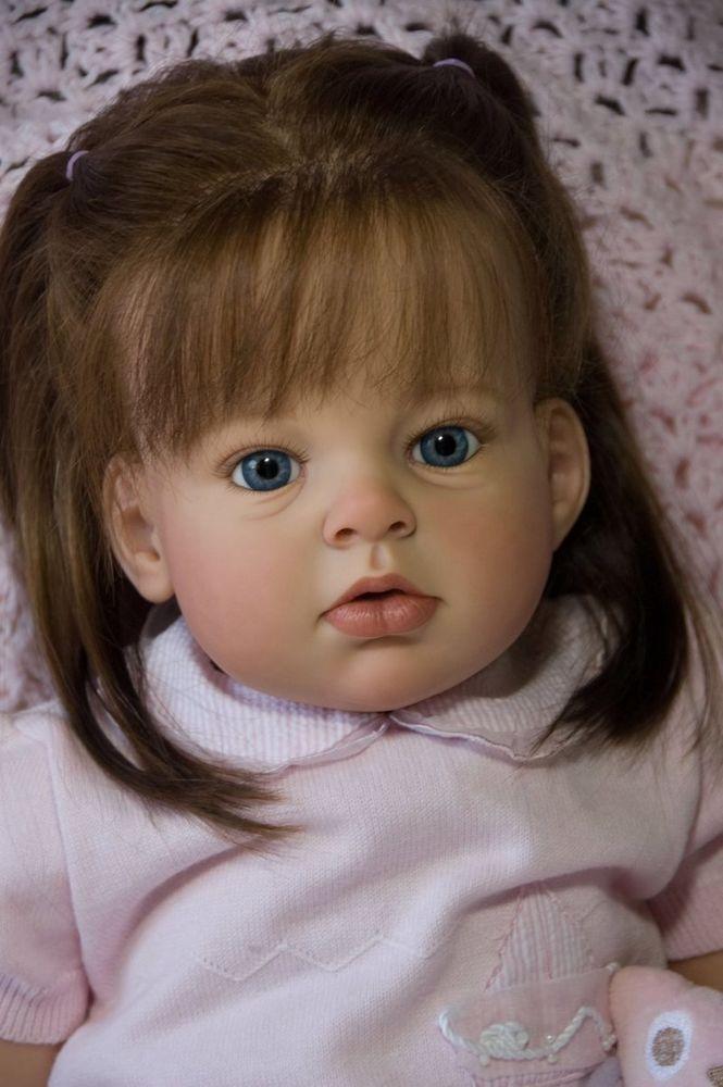 Reborn Toddler Doll Baby Girl Arianna by Reva Schick OOAK Brown Silky Human Hair