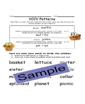 vccv patterns worksheet worksheets syllable and common cores. Black Bedroom Furniture Sets. Home Design Ideas