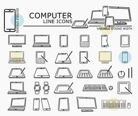Computer line icons with minimal nodes and editable stroke width and style at a different angles