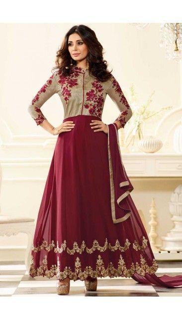 Wine Georgette Anarkali Churidar Suit With Dupatta - DMV14842