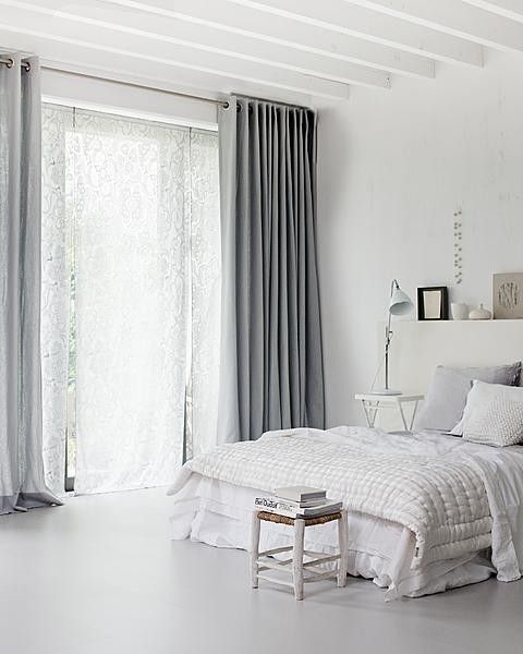 """curtain length and colour make this room more cosy. You can buy similar from Next directory. the sweeping floor length makes the """"look"""""""