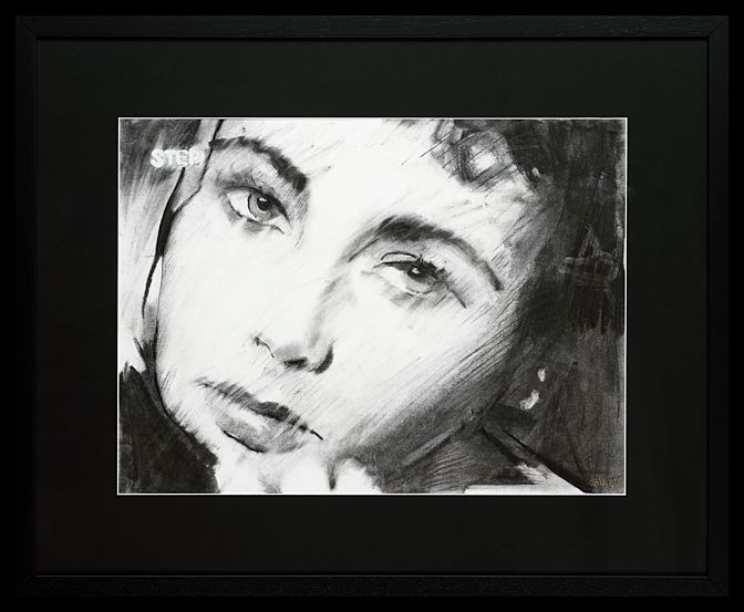 Liz Taylor II | Charcoal on Paper  64 x 79 cm (framed) | The second of four drawings of Liz Taylor, each a frame apart. Trish has captured Taylor's beautiful vulnerability in these images. The works are available and can be purchased as a set or individually.
