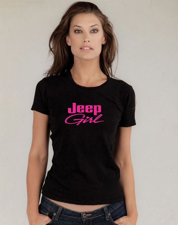Jeep girl black t shirt brand new junior 39 s neon pink vinyl Womens black tee shirt