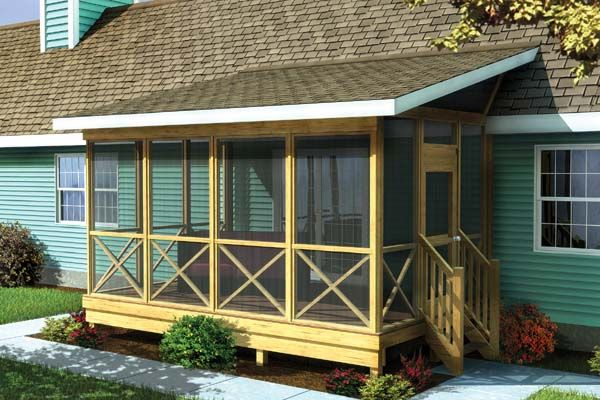 This simply designed shed roof screened-in porch plan provides a shaded, insect-free place to relax and entertain outdoors. A 4/12 pitch roof attaches to the side or roof of the house.