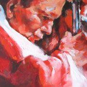 PORTRET w malarstwie. Tytuł - portret JAN PAWEŁ II (nr. 19/2006). :: autor - Renata Domagalska. :: Rok 2006. :: Technika mieszana - olej i akryl na płótnie.
