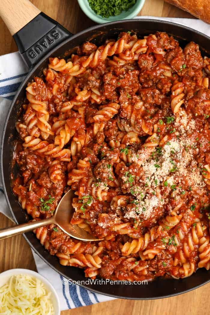 Fusilli With Meat Sauce Uses Ground Beef Onion Red Wine Marinara Sauce Simmered Together Wit In 2020 Easy Pasta Dishes Pasta With Meat Sauce Red Sauce Pasta Recipe