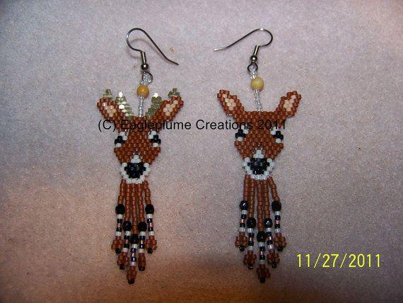 Handmade Seed Bead Brick stitch beaded Deer earrings with fringe