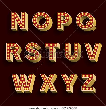 Retro Light Bulb Alphabet Vector Font. Part 2 of 3. Letters N - Z. 3D retro type letters with light bulbs and shadow on a dark background.