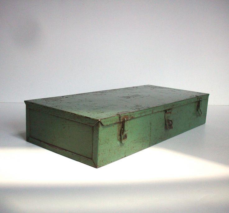 Vintage Green Metal Tool Box / Painted Metal Box / Industrial Decor / Storage Organization / Distressed Painted Metal Box / Metal Box by urgestudio on Etsy https://www.etsy.com/listing/244217269/vintage-green-metal-tool-box-painted