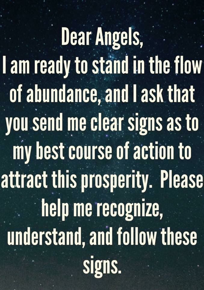 Angel prayer for signs to prosperity