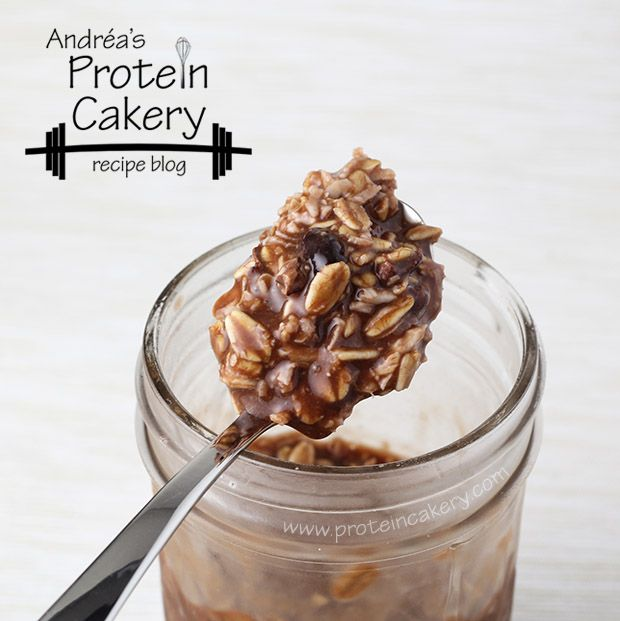 Prot: 28 g, Carbs: 26 g, Fat: 6 g, Cal: 269    A simple and delicious breakfast or post-workout treat, these Chocolate Coconut Overnight Protein Oats couldn't be easier! No cooking required. Just put all the ingredients in a jar overnight in the refrigerator, and wake up to breakfast!