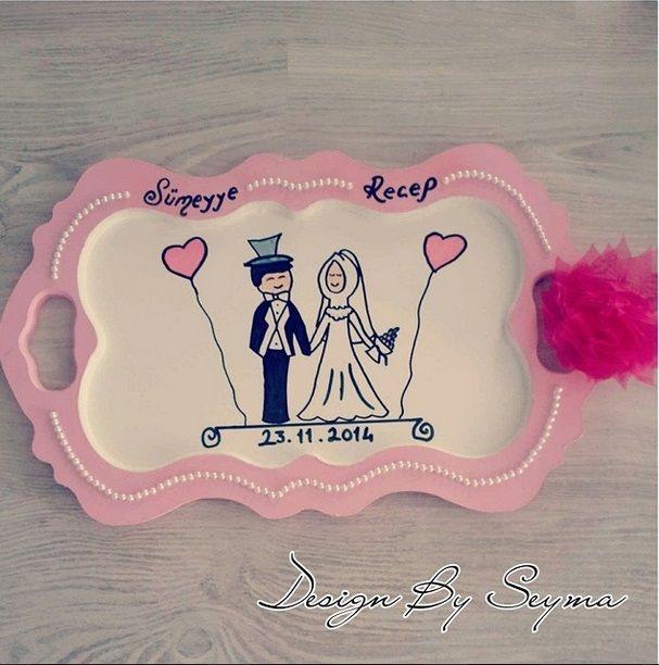 instagram/designbyseymaa tarafından yapılan muhteşem bir tepsi... #tepsi #bardak #bardakalti #wedding #gelin #damat #bride #kirmizi #red #love