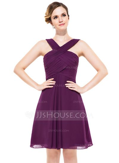 Corte A/Princesa Escote en V Hasta la rodilla-JJsHouse