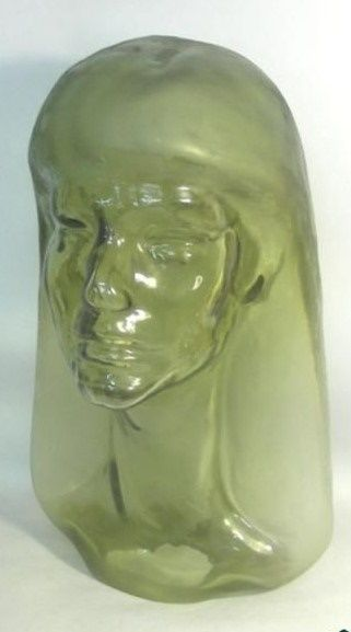 French Art Deco Glass Sculpture Of A Woman, Henri Navarre, Paris, 1924.  The sculpture is made in the shape of a woman's face with Matte finished hair. Signed - Henri Navarre, France, 1924. Height: 38cm / 14.96in. Width: 23cm / 9in. Weight: 3765gr / 121oz.