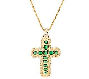 John F. Kennedy gave this cross to Jackie during her pregnancy with Caroline in October 1957. Caroline was born in late November. JFK loved the way Jackie looked in emeralds. They reminded him of their shared Irish heritage.  Information provided by Phil Katz.
