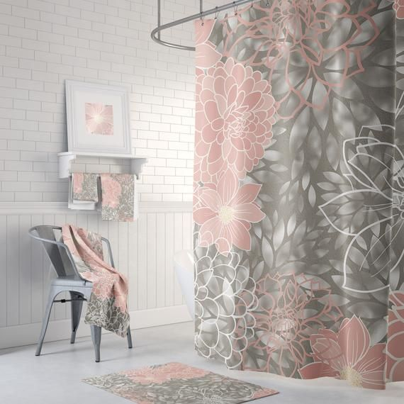 Pink And Gray Floral Shower Curtain Bath Mats Can Also Be