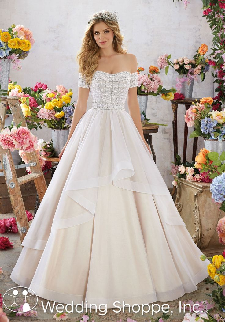 An Off The Shoulder Ballgown Style Wedding Dress This Stunning Mori Lee Gown