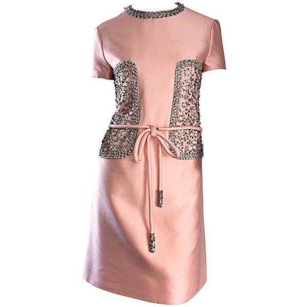 Preowned 1960s Pat Sandler Light Pink Silk + Rhinestones + Crystals... ($825) ❤ liked on Polyvore featuring dresses, pink, cocktail dresses, silk dress, red dress, a-line cocktail dresses, light pink cocktail dress and vintage cocktail dresses