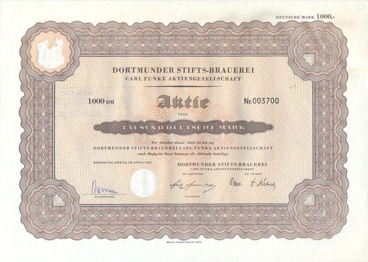 Stifts-Brauerei Carl Funke Aktie 1000 DM 1967