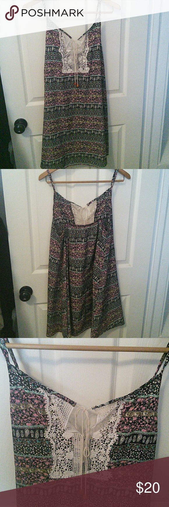 💞💞Beautiful women's sun dress💞💞 💞💞Very pretty sun dress, lovely colors, a little lace in the front adds to it's beauty, flattering length just above the knee💞💞 Pronto Dresses Mini