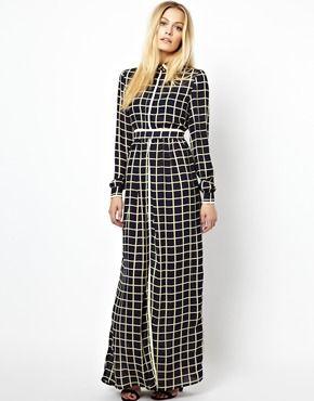 Jovonnista Gino Maxi Dress in Grid Print