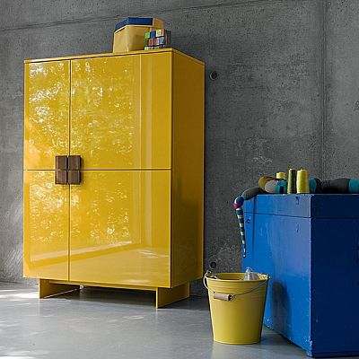 Bright, flamboyant yellow 'Miles' sideboard. High quality materials and luxury design. My Italian Living
