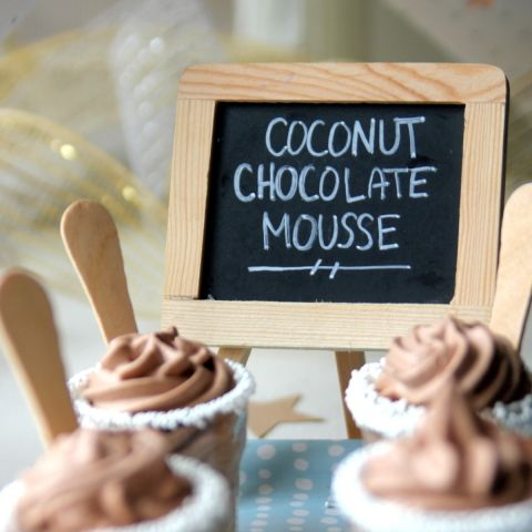 Coconut Chocolate Mousse.  1 can of coconut milk (not lite)*.  5 tbsp of cocoa powder.  2 tbsp of powdered sugar.