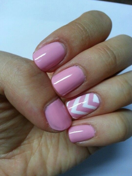 Chevron nails. I like this with the other nails in a french manicure and keep the white and pink chevron ring finger. Very Pretty