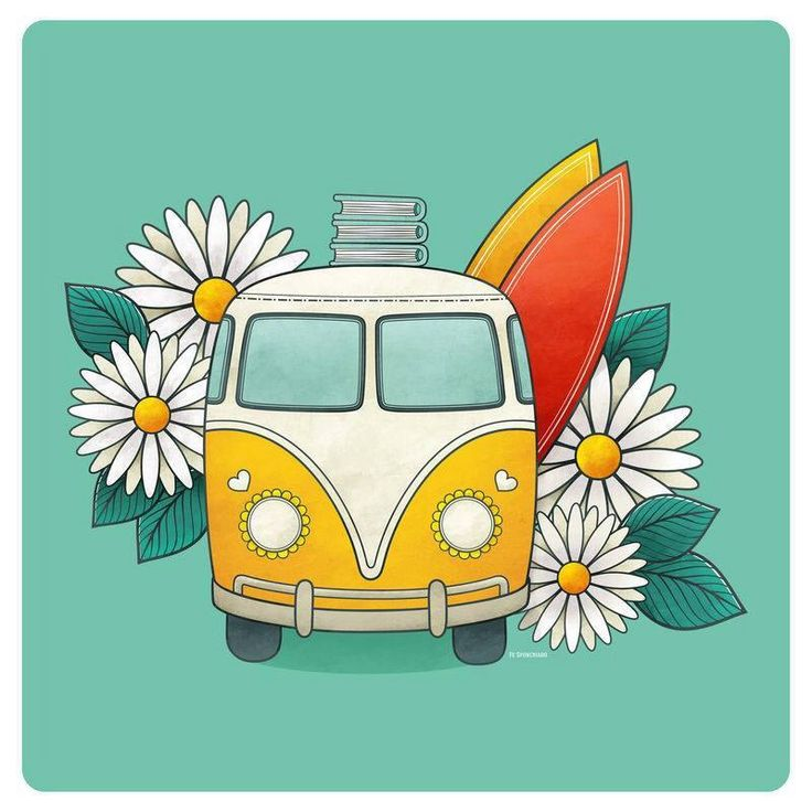 Different color bus, sunflowers instead of daisies and take away the surfboards/books