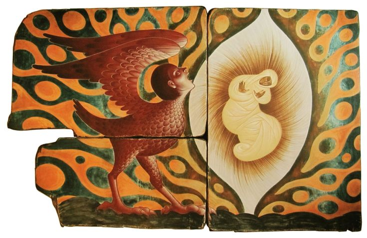 IN THE WOMB - tempera on wood, assembly 3 pieces, 110X176 cm