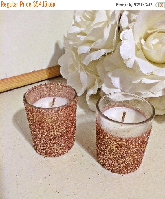 25 rose gold votive candles, Wedding Centerpiece, Rose Gold Centerpieces, Rose…
