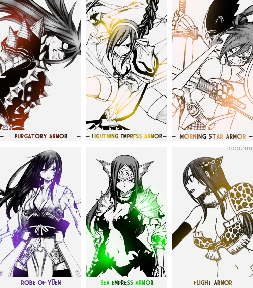 Erza Scarlet armors.